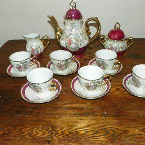 Rare Fine Porcelain Yusui Tea Pot Set 24K
